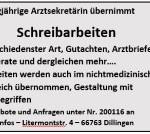 Schreibarbeiten - Auftragsarbeiten - ärztliche Gutachten - Referate, etc.
