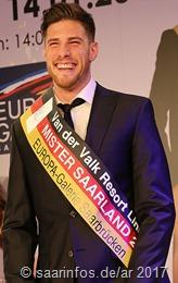 Mister Saarland 2017 Sieger Pascal Kappes (26) aus Bischmisheim