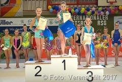 1. Internationaler Osterecup des TV Rehlingen: Maike Jager, Jessica Sofin und Amely Trampert erhielten in der SWK 12 die drei Medaillen