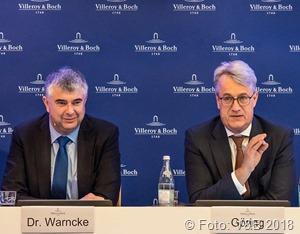Dr. Markus Warncke (Vorstand Finanzen) und Frank Göring (Vorstandsvorsitzender) präsentierten das Ergebnis des Geschäftsjahres 2017 für die Villeroy & Boch AG im Rahmen einer Bilanzpressekonferenz.