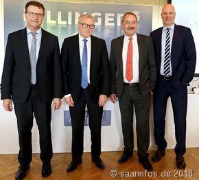 Dillinger Gruppe - der Vorstand (v.l.n.r.) Dr. Günter Luxemburger, Fred Metzken, Peter Schweda, Dr. Bernd Münnich