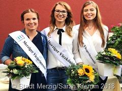 """""""Viezdreigestirn 2018-2019"""": Laura Fox (Prinzessin), Nathalie Zimmer (Königin), Sophie Jäger (Prinzessin)"""