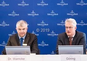 Dr. Markus Warncke (Vorstand Finanzen) und Frank Göring (Vorstandsvorsitzender) präsentierten das Ergebnis des Geschäftsjahres 2018 der Villeroy & Boch AG. Foto: V &B. 2019