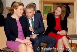 Landrat Patrik Lauer (M) hieß zusammen mit Staatssekretärin Christine Streichert-Clivot (r.) den Gast aus Berlin willkommen