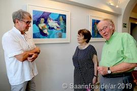 Während des Rundgangs (vrnl) Horst Ziegler, Angela Pontius, Gerhard Alt