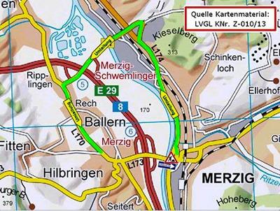 Skizze  Sanierung Hilbringer Brücke L173