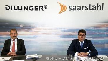 """Bei der Jahrespressekonferenz SHS – Stahl-Holding-Saar waren Vorstandsvorsitzender Tim Hartmann (r,) und Personalchef und Arbeitsdirektor Peter Schweda """"im Bilde"""""""