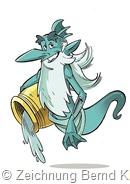"""Fluxus, der vorlaute Wassergeist ist der Titelheld in der Comic-Serie """"Saarlouis-Im Fluss der Zeit"""". Zeichnung: Bernd Kissel"""