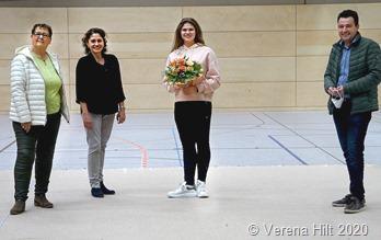Daniela Huber wurde am Freitag von ihrem Heimatverein und dem ersten Beigeordneten der Gemeinde Rehlingen-Siersburg empfangen: Petra Bastian, Galina Ellert, Daniela Huber und Joshua Pawlak (vlnr).