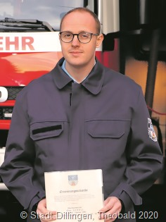 Oliver Scholl ist der neue Löschbezirksführer der Diffler Feuerwehr. Foto: Stadt Dillingen/Theobald