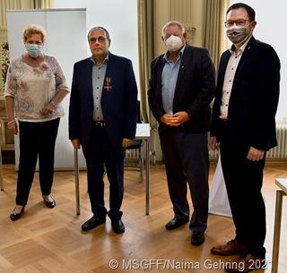 Ministerin Bachmann, Hans Grauss, Beigeordneter Schwarz, Landrat Meng b