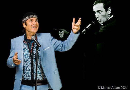 """Marcel Adam präsentiert mit seiner Band Chansons der berühmten Chansonniers Charles Aznavour und den 4 """"B"""" (Brel, Brassens, Becaud und Beart)."""