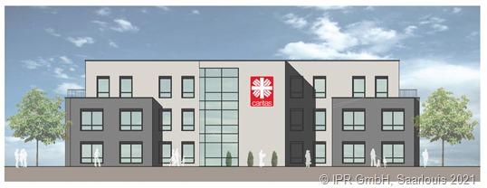 So soll der Neubau der Caritas in Merzig nach seiner Fertigstellung aussehen